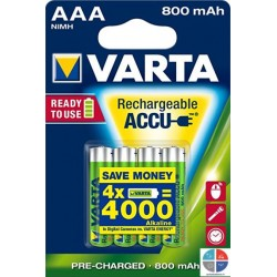 Pack 4 piles rechargeable aaa Varta